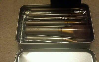 Unwanted!Christmas present!Professional make up  brushes  in tin metal box.