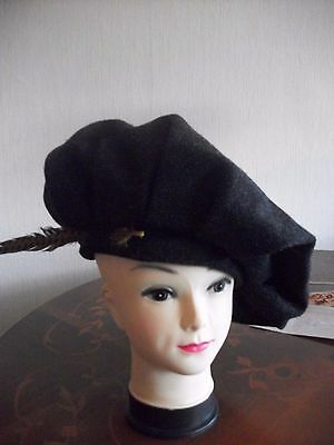 medieval period gents black theatre costume hat medieval stage cosplay  Tudor
