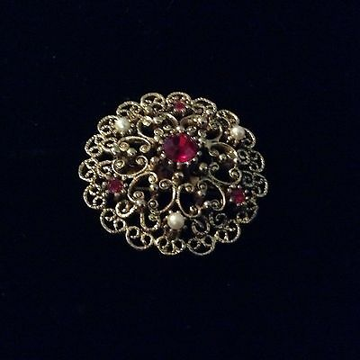 Vintage Gold Tone Brooch, With Simulated Rubys And Pearls. ON SALE!