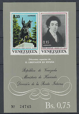 XG-N052 VENEZUELA - Paintings, 1969 Liberation, Simon Bolivar, Imperf. MNH Sheet