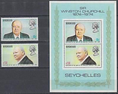 XG-N064 SEYCHELLES IND - Churchill, 1974 Cent. Of Birth, Set And MNH Sheet