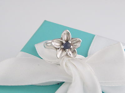 Tiffany & Co Silver Iolite Flower Ring Size 6.5 Box Included
