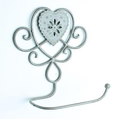 Heart floral toilet roll holder loo shabby chic vintage bathroom White Grey
