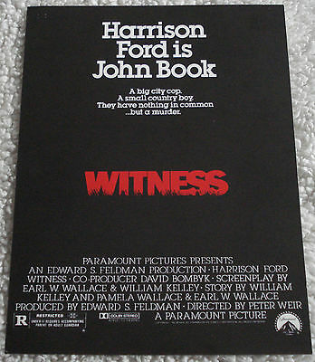 WITNESS (vintage 1985 flyer) mint condition