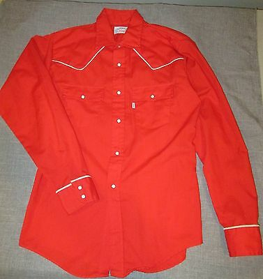 Vtg Boys Levi Red White Western Snap Shirt 70's Size 18 GREAT!