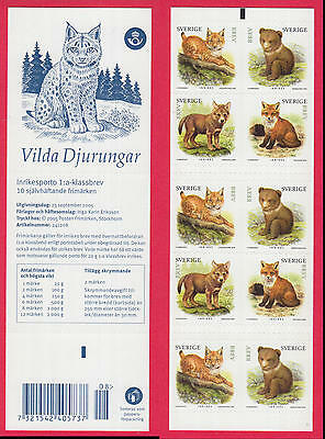 XG-N721 SWEDEN - Wild Animals, 2005 Cubs, Felines, Foxes, Bears MNH Booklet