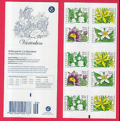 XG-N723 SWEDEN - Flowers, 2005 Adhesive Stamps MNH Booklet