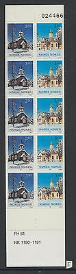 XG-W352 NORWAY - Architecture, 1993 Churches, 10 Values MNH Booklet