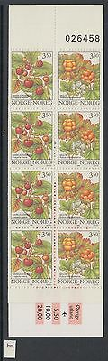 XG-W359 NORWAY - Fruits, 1996 Flowers, 8 Values MNH Booklet