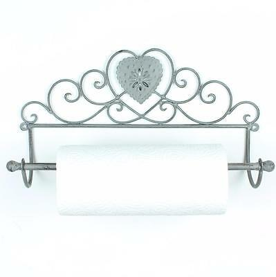 Heart Kitchen Roll Holder Shabby Chic Wall Mounted Vintage Grey White Gift Home