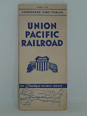 Jan. 1 1947 Train Time Table Union Pacific Railroad Strategic Middle Route Map