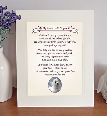 """Maltese 10"""" x 8"""" Free Standing 'Thank You' Poem Fun Novelty Gift FROM THE DOG"""