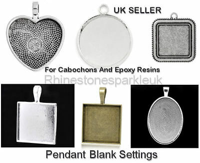 Antique Silver Heart, Square, Oval, Round Pendant Blanks Setting for Cabochons