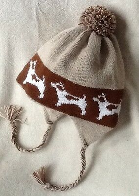 JACK RUSSELL TERRIER dog knitted lined ADULT SIZE TRAPPER EAR FLAP HAT