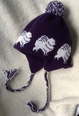 POMERANIAN WHITE dog NEW knitted lined ADULT SIZE PURPLE TRAPPER EAR FLAP HAT