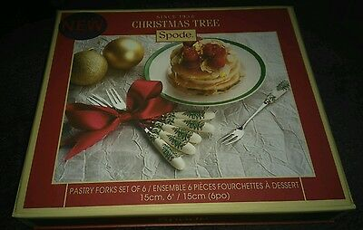 Spode Christmas Tree Set Of Six Pastry Forks New And Boxed