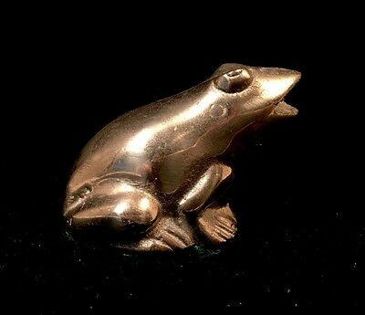 Vintage Heavy Brass Gold Tone Frog Collectible Figure Figurine