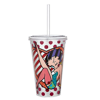 Betty Boop by Romero Britto Tumbler cup RED with Glitter 16.9 Oz
