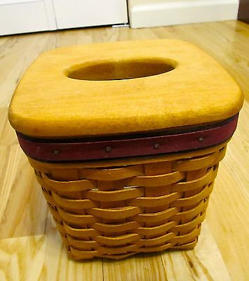 Longaberger 1994 Father's Day Tissue Basket w/ Protector Custom Liner & Lid EUC