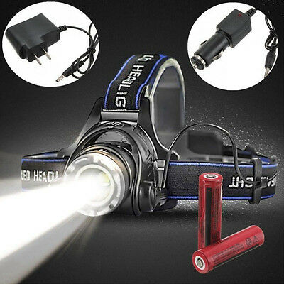 5000Lm XM-L T6 LED 2X 18650 Zoomable Headlamp Headlight Head Torch Fishing Camp