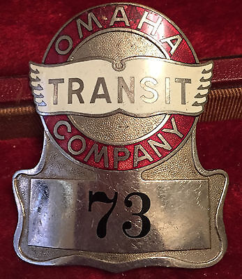 Omaha Transit Company hat badge hallmarked Meyer & Wenthe