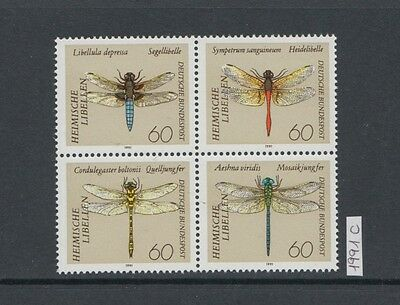 XG-X207 GERMANY - Insects, 1991 Dragonflies, Block Of 4 MNH Set