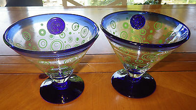 Royal Caribbean Martini Glasses Cobalt Blue Foot and Rim Applied Logo 2 16oz