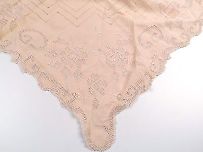 Antique Linen Table Cloth Cut Work Hand Stitched Embroidered Pale Pink 45x48
