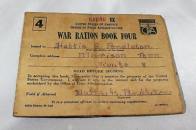 WWII War Ration Booklet Four