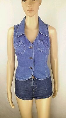 Vintage Denim Waistcoat Size 10 70's Pointed Collar Blue Casual