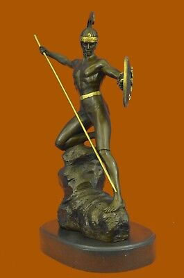 USA Ornaments of ancient Roman soldier statue bronze sculpture warrior Spear DB