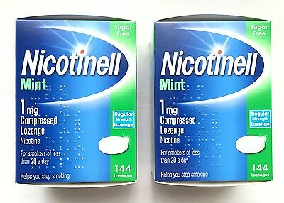 2 X Nicotinell Mint 1mg Compressed 144 Lozenge Nicotine Sugar Free Exp 03/2018