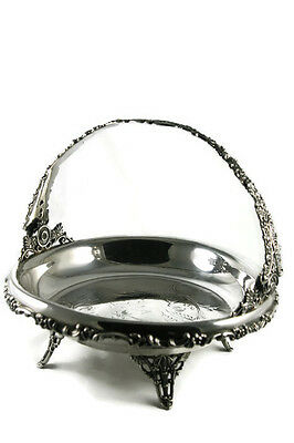 Antique Silver Plated Bridal Basket Repousse Handle Footed Standard Silver Co