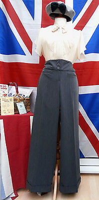 1940`s WW11 wartime vintage land girl style wide leg turn up trousers size 14