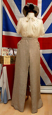 1940`s WW11 wartime vintage land girl style wide  turn up trousers Next  14 L