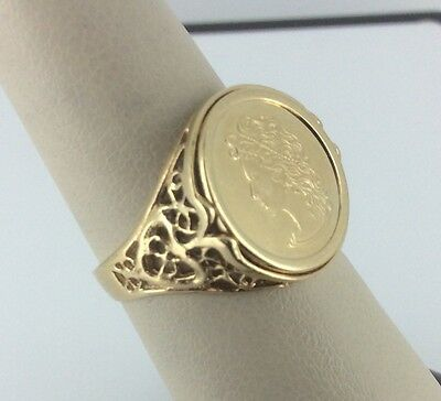14K Yellow Gold Cameo Coin Look Filigree Ring - Size 7.5