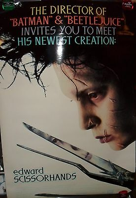 Original Edward Scissorhands 27 X 40 Double Sided Theater Movie Poster 1990