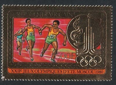 XG-Y385 CENTRAL AFRICAN - Olympic Games, 1980 Gold Foil, Moscow '80 MNH Set