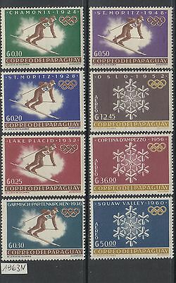 XG-Y467 PARAGUAY - Olympic Games, 1963 Winter, History, 8 Values MNH Set