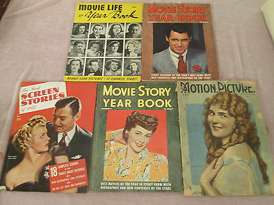 5 Movie Story Life Year Book, Motion Picture Magazine, Screen Stories 1940s DE