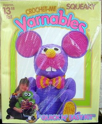 Squeaky Mouse Yarnables Crochet Me Kit 13 Inch Spinrite 2604 Stuffed Toy Animal