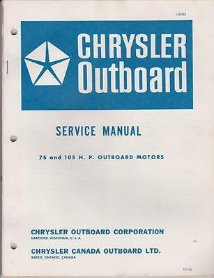 Chrysler Outboard Motor Service Manual 75 and 105 HP OB981 - Good 1966