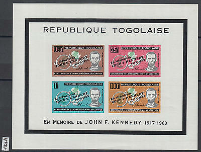 XG-Y969 TOGO IND - Kennedy, 1964 Ovp. Over Lincoln, W/Out Silhouette MNH Sheet