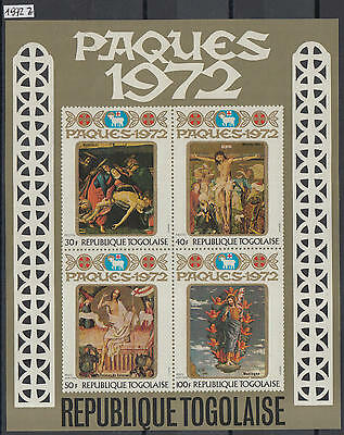 XG-Y974 TOGO IND - Easter, 1972 Paintings, Imperf. MNH Sheet