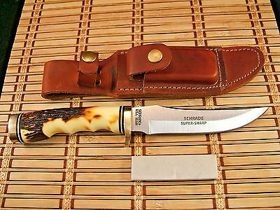 Mint Unused Vintage Schrade+ Usa Uncle Henry 153Uh Golden Spike Knife & Sheath
