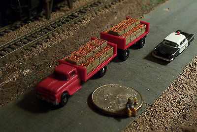 ORANGES Produce Farm Truck and Trailer N Scale Vehicles