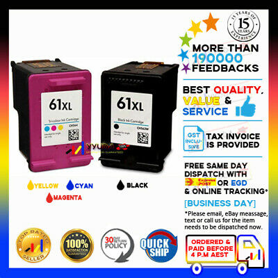 2x Ink HP 61 XL Black & Colour Cartridge for HP Deskjet 1050/2050/3050/2510/2540