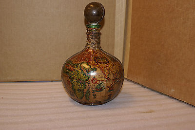 Vintage Leather Paper Clad Glass Decanter Bottle Made in Italy