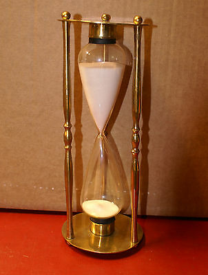 """Vintage Brass Hourglass 10"""" Nautical Two Dog Watches Forenoon Middle Watch"""
