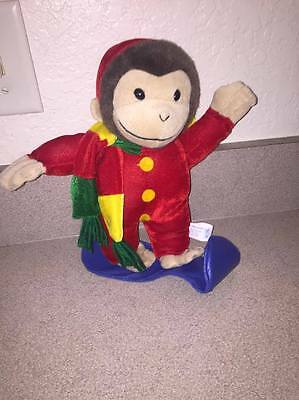 "13"" New Winter Snow Boarding Curious George Plush"